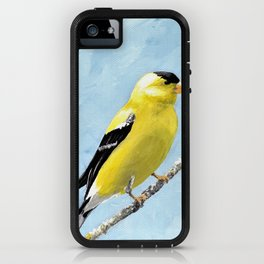 Goldfinch Acrylic Art, Yellow Bird Painting, Goldfinch Wall Art, Bird on a branch iPhone Case