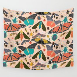 Meadow With Butterflies, Bees and Wildflowers Wall Tapestry