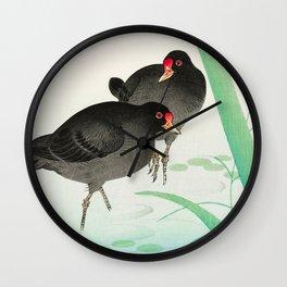 Two birds in the swamp  - Vintage Japanese Woodblock Print Art Wall Clock