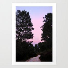 Pink sunrise. Into the woods. Art Print