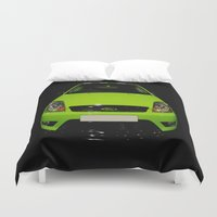 ford Duvet Covers featuring Green Ford Fiesta by VHS Photography