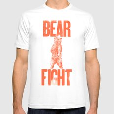 Bear Fight White MEDIUM Mens Fitted Tee