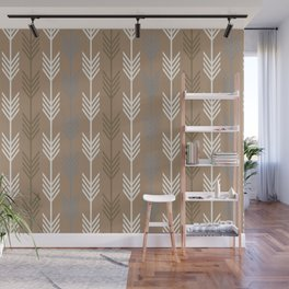 Ethnic Arrow Fletching Pattern - Neutral Brown and Grey Wall Mural