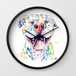 Pit Bull, Pitbull Watercolor Pet Portrait Painting - Tango Wall Clock