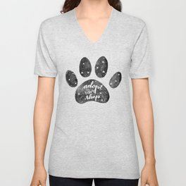 Adopt don't shop galaxy paw - black and white Unisex V-Neck