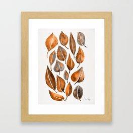 Cascading Leaves – Orange Palette Framed Art Print