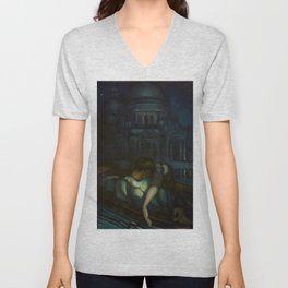 Passion, Venice Canals portrait painting by Federico Beltran Masses Unisex V-Neck