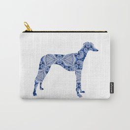 Paisley Dog No. 3 in Blue   Extra Large Carry-All Pouch