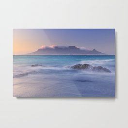 Sunrise over the Table Mountain and Cape Town from Blouwbergstrand Metal Print