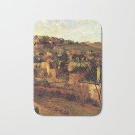 """Paul Gauguin - Blue Roofs of Rouen """"Les toits bleus, Rouen"""" (1884) Bath Mat"""