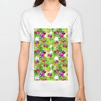 tropical V-neck T-shirts featuring Tropical  by lalaprints