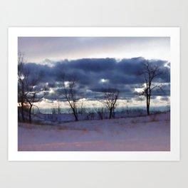 Winter night scene Art Print