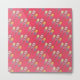Pink Lollipop candy gender reveal party pattern Metal Print