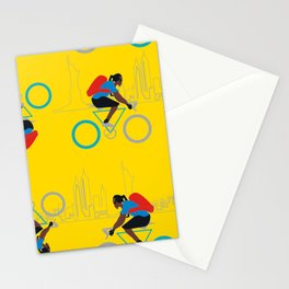 American biker in NYC Stationery Cards