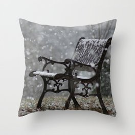 Snowfall in the loneliness Throw Pillow