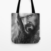 thorin Tote Bags featuring Thorin by AnastasiumArt