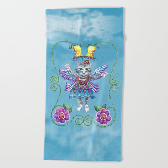 Angel Kitty (Turquoise) Beach Towel