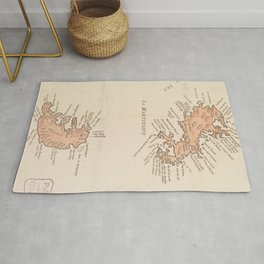 Vintage Map of St Lucia & Martinique (1781) Rug