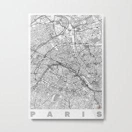 Paris Map Line Metal Print