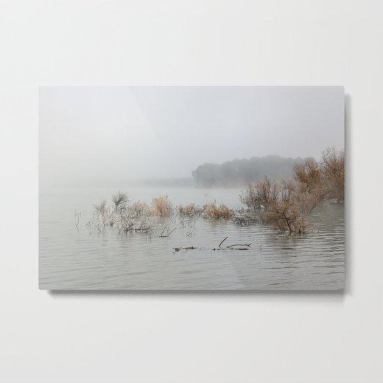 """Foggy sunrise at the lake"". Metal Print"