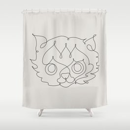One Line Cat Shower Curtain