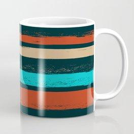 Stripes - Turquoise Tan Coffee Coffee Mug