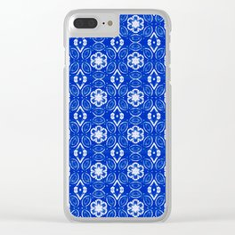 Sapphire Blue Floral Geometric Pattern Clear iPhone Case
