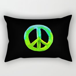 Turquoise Lime Watercolor Tie Dye Peace Sign Rectangular Pillow