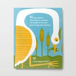 Nonsense Alphabet (Heron) Metal Print