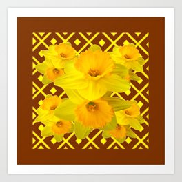 Coffee Brown Pattern of Golden Daffodils Art Art Print