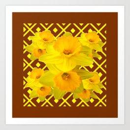 Coffee Brown Pattern of Golden Daffodils Art Art Print