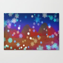 Mountains and Snowflakes Canvas Print