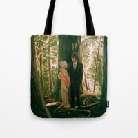 sasuke Tote Bags featuring between the trees by baasama