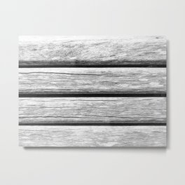 Black and White Image Of Wooden Boards Background Metal Print