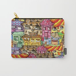 Suburbia watercolor collage Carry-All Pouch