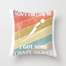 Don't Follow Me I Got Some Crazy Skills - Retro Ski Jumping product Throw Pillow