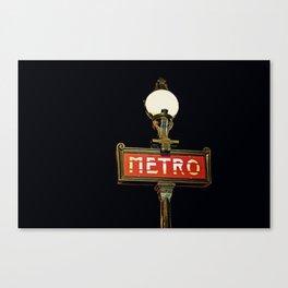 Metro - Paris Subway Sign Canvas Print