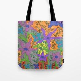 Violets in the Sky Boho Floral Tote Bag