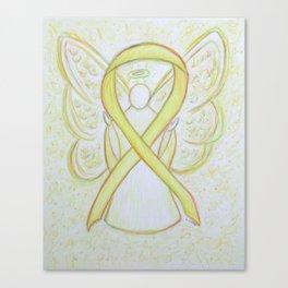 Yellow Awareness Ribbon Angel Art Canvas Print