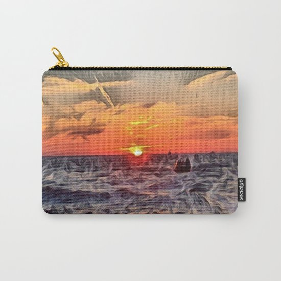 Lake Michigan Romantic Sunset Carry-All Pouch
