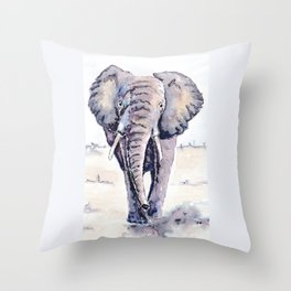 Elephant on a mission Throw Pillow