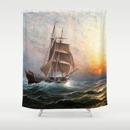 Sailing into the Storm, Sunset, marine nautical landscape by Charles Henry Gifford Shower Curtain