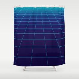 Minimalist Blue Gradient Grid Lines Shower Curtain