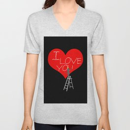 A Woman Worker Stands On A Step Ladder And Chisels I Love You In Red Heart. Black Background Unisex V-Neck