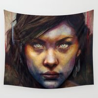 woman Wall Tapestries featuring Una by Michael Shapcott