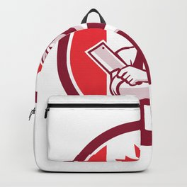 Canadian Butcher Front Canada Flag Icon Backpack