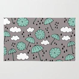 Blue umbrella sky rainy day abstract fall illustration pattern blue Rug