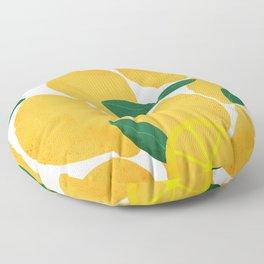 lemon mediterranean still life Floor Pillow