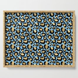 Beautiful Blue & Gold Leopard Print Pattern Serving Tray