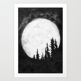 Full Moon & Trees Art Print